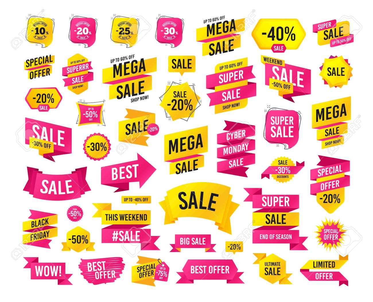 Sale banner. Super mega discount. Sale discount icons. Special offer stamp price signs. 10, 20, 25 and 30 percent off reduction symbols. Black friday. Cyber monday discount. Vector - 112887495