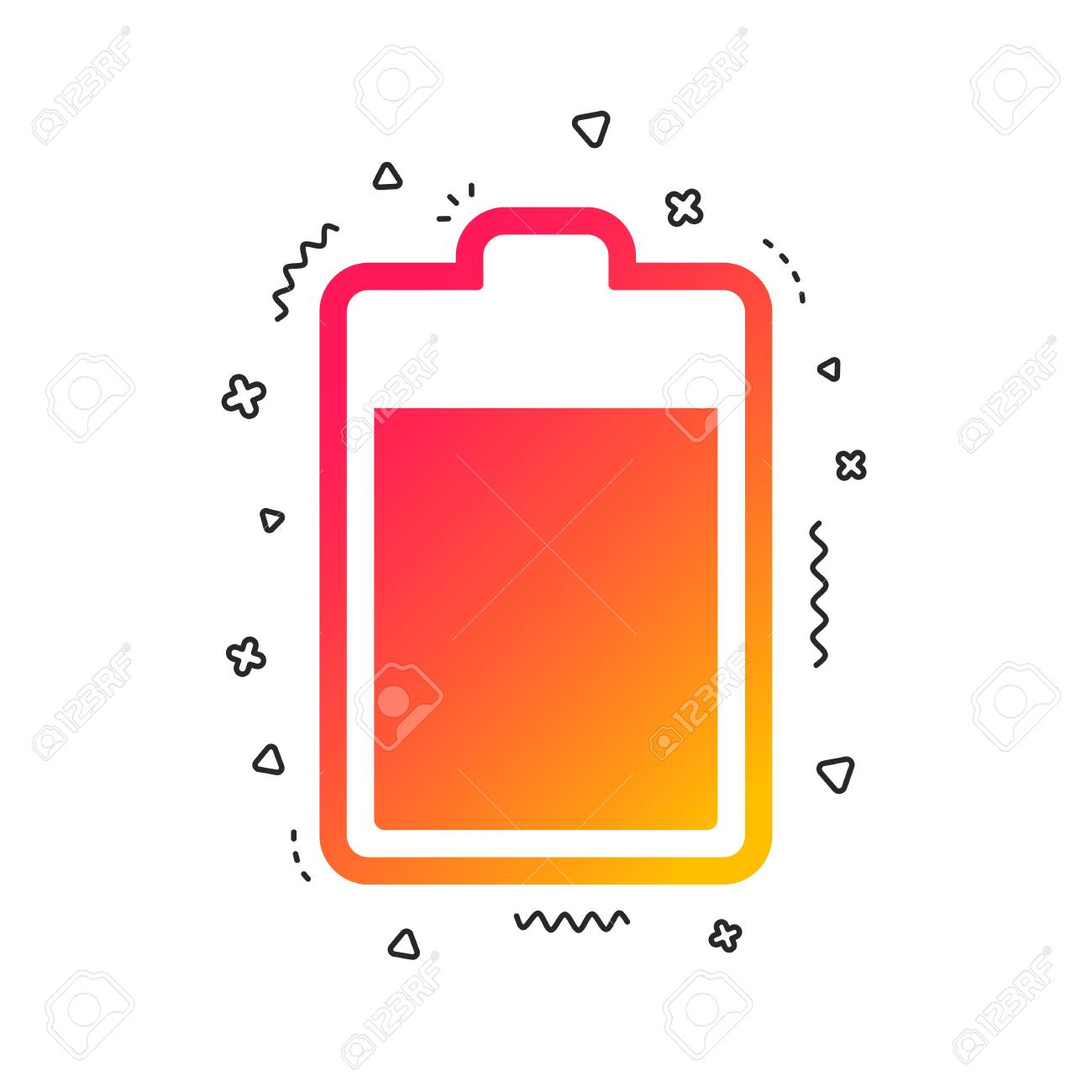 Battery level sign icon. Electricity symbol. Colorful geometric shapes. Gradient battery icon design. Vector - 112670155