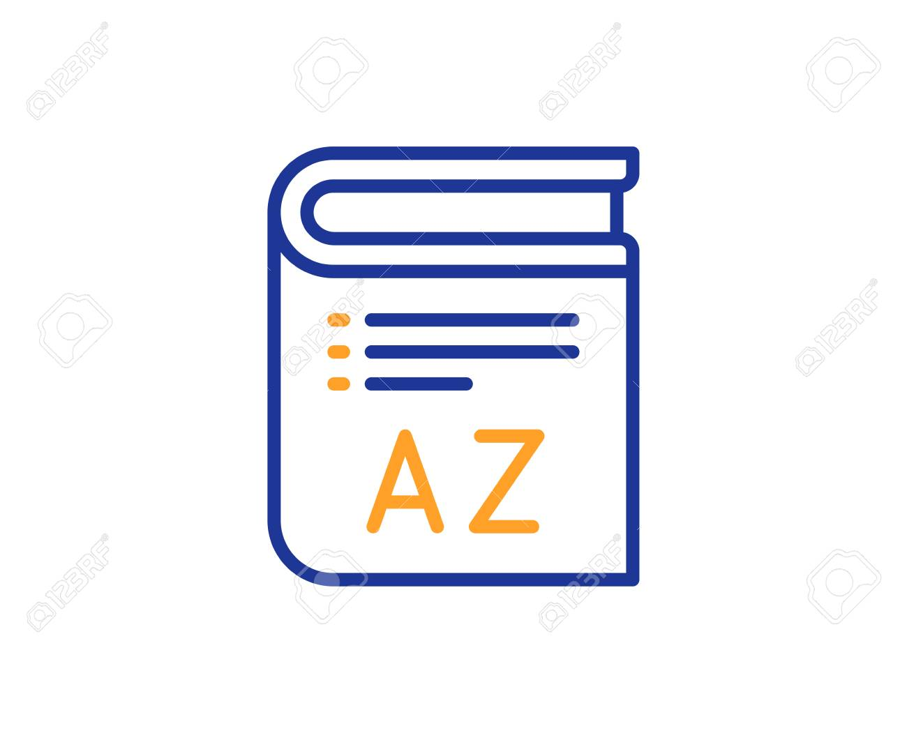 Vocabulary line icon. Book glossary sign. Colorful outline concept. Blue and orange thin line color Vocabulary icon. Vector - 112887867