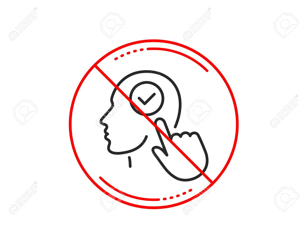 No or stop sign  Head line icon  Select user sign  Checkbox symbol