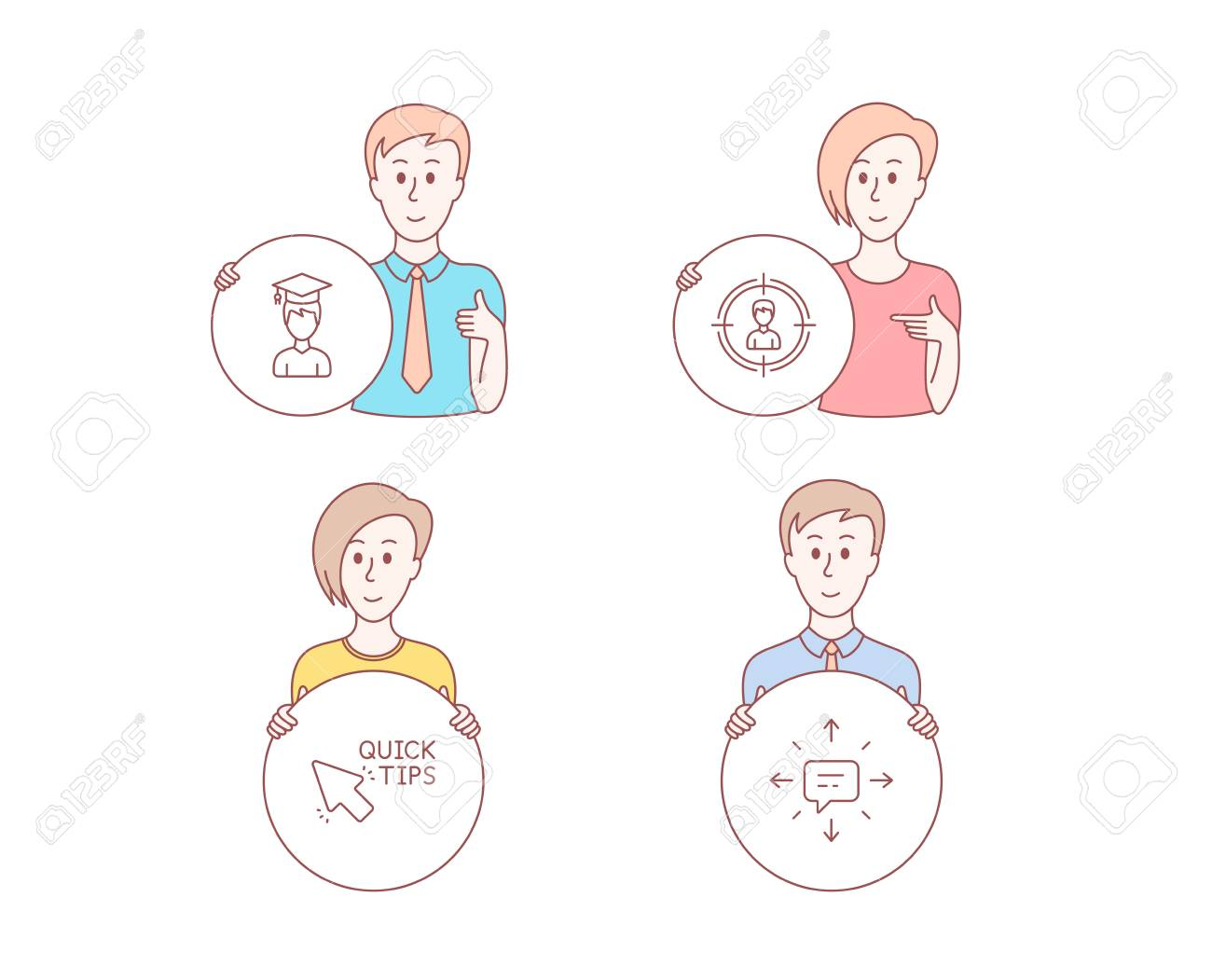 People set of Headhunting, Student and Quick tips icons  Sms