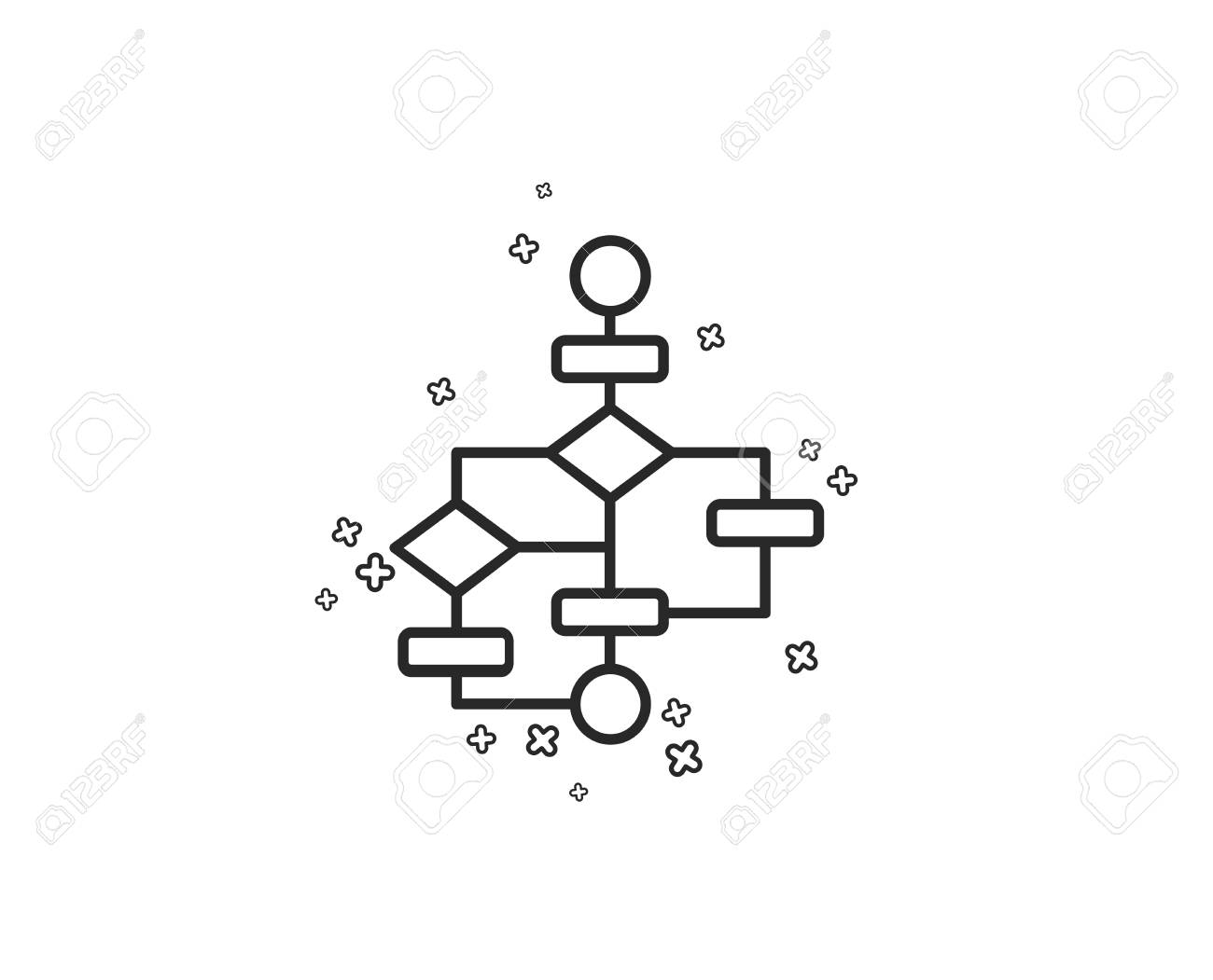 block diagram line icon  path scheme sign  algorithm symbol  geometric  shapes  random
