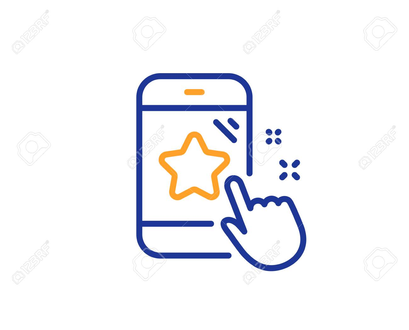 Star rating line icon. Feedback phone sign. Customer satisfaction symbol. Colorful outline concept. Blue and orange thin line color Star rating icon. Vector - 126856443