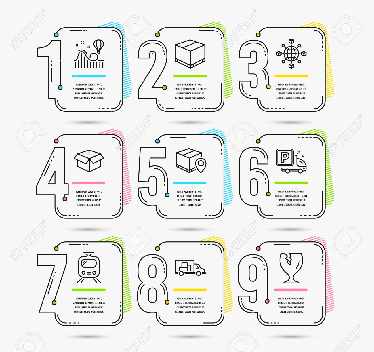 Infographic timeline set of Logistics network, Parcel tracking and Opened box icons. Truck parking, Delivery box and Train signs. Vector - 113647178