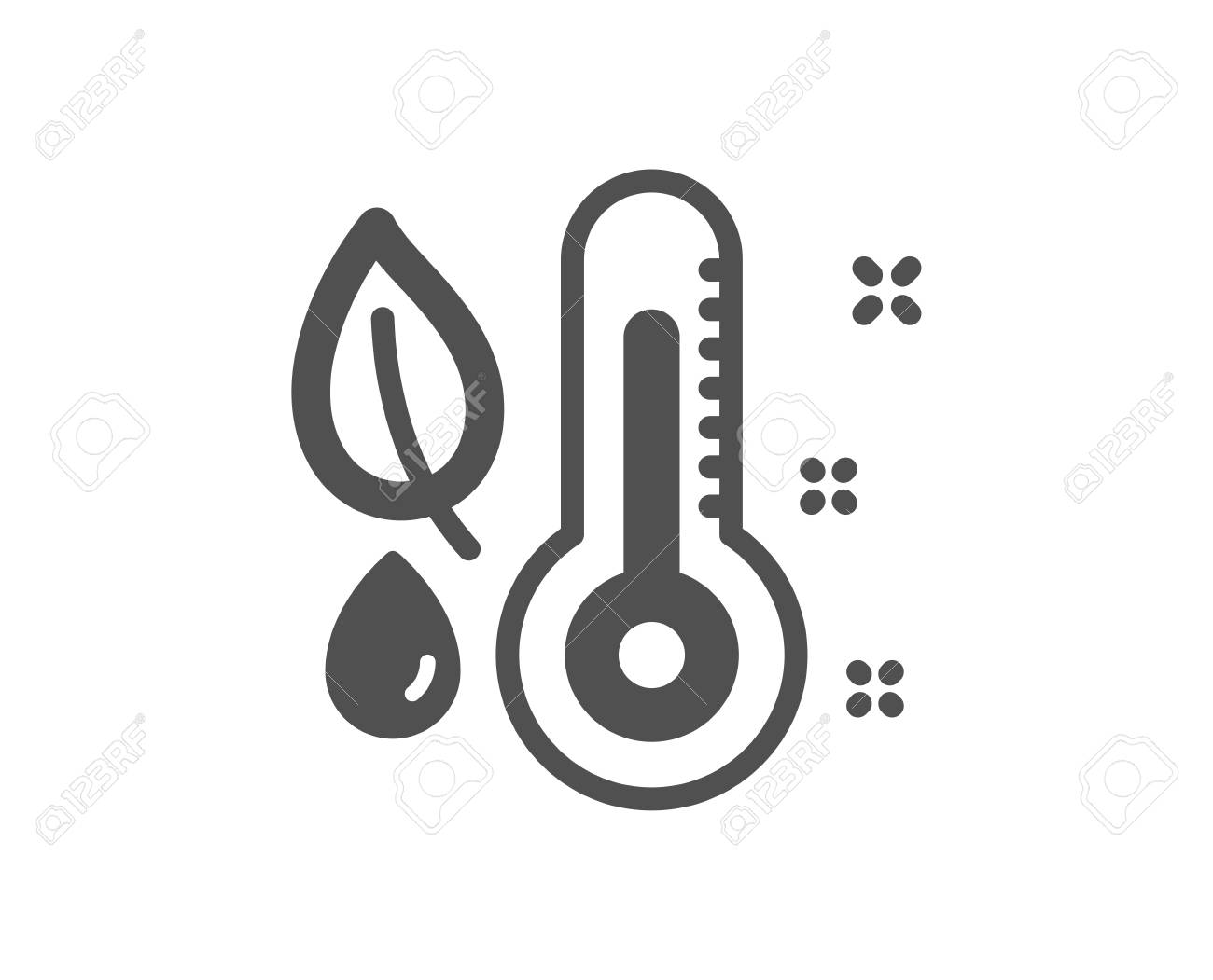 Thermometer icon. Humidity and leaf sign. Moisture symbol. Quality design element. Classic style icon. Vector - 126673597