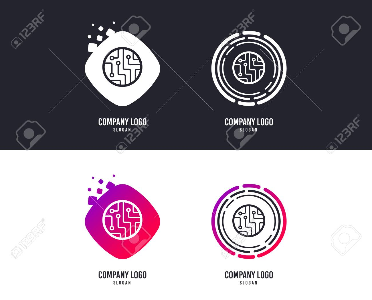 Logotype concept. Circuit board sign icon. Technology scheme circle symbol. Logo design. Colorful buttons with icons. Vector - 115602364