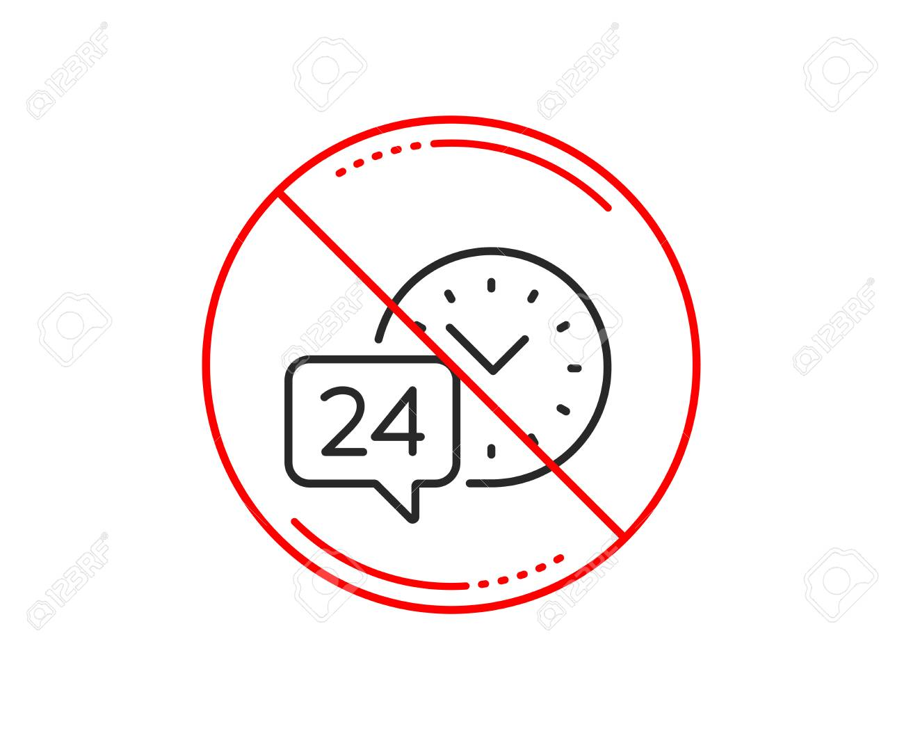 No or stop sign. 24 hour time service line icon. Call support sign. Feedback chat symbol. Caution prohibited ban stop symbol. No icon design. Vector - 115602553