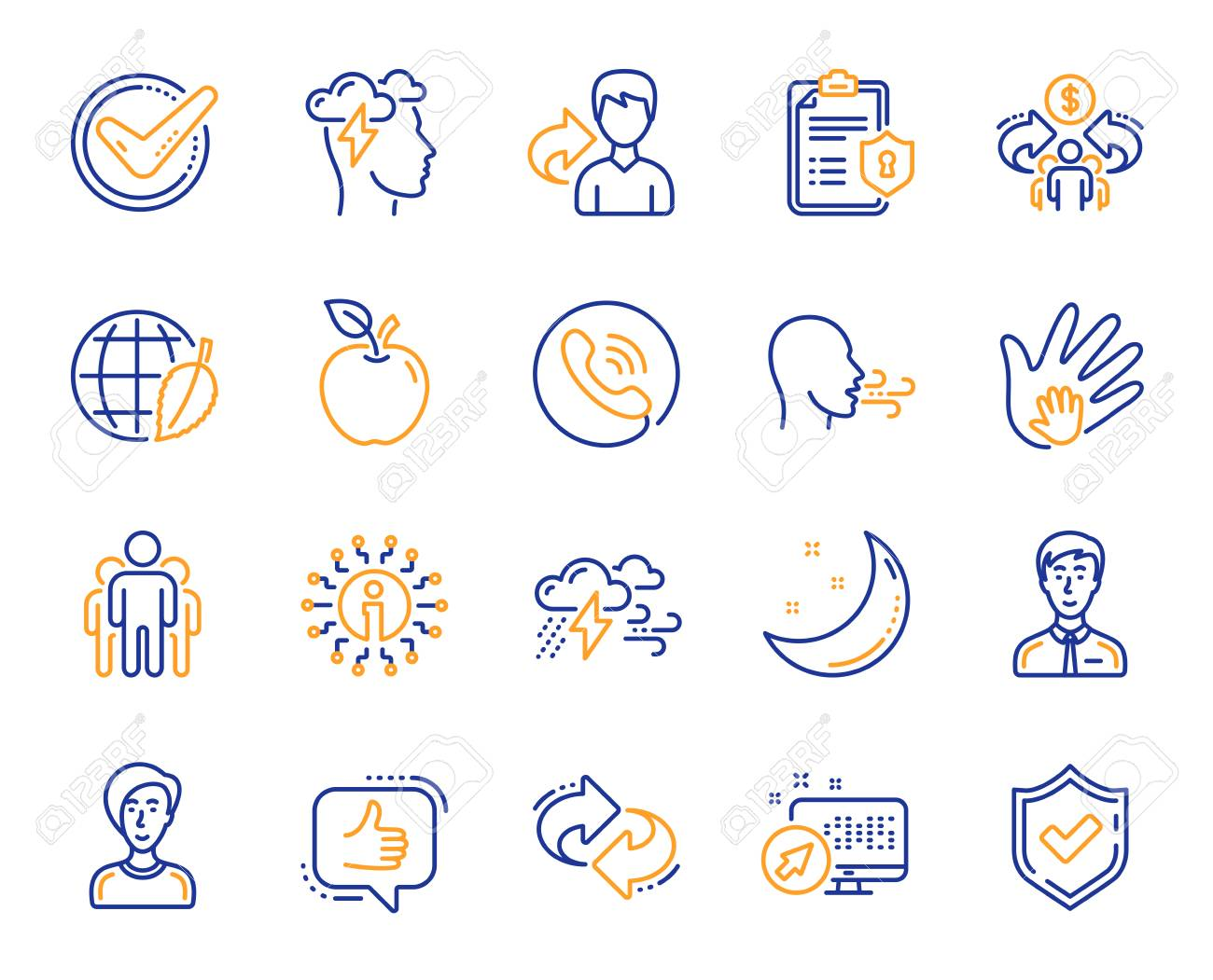Check mark, Sharing economy and Mindfulness stress, Breath people line icons. Privacy Policy, Social Responsibility, Breath icons. Bad weather, Tick check mark, sharing refer, stress. Vector - 125985973