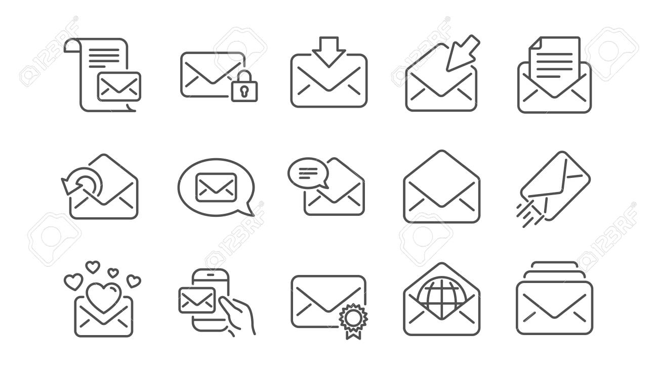 Mail message line icons. Newsletter, E-mail, Correspondence. Communication linear icon set. Vector - 115605484