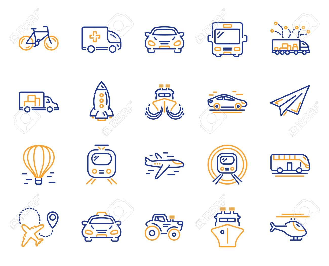 Transport line icons. Taxi, Helicopter and subway train icons. Truck car, Tram and Air balloon transport. Bike, Airport airplane and Ship, subway. Travel bus, ambulance car, paper airplane. Vector - 115605485