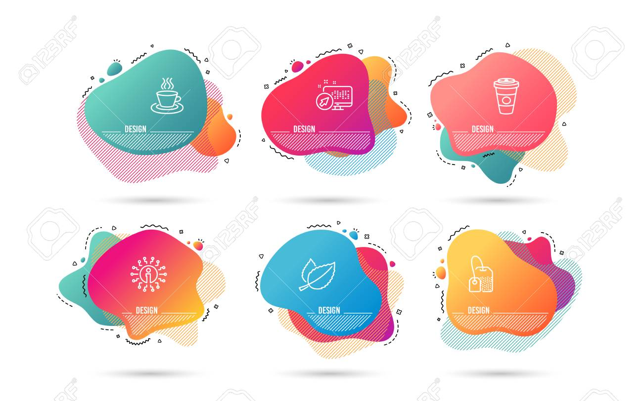 Dynamic liquid shapes. Set of Tea bag, Mint leaves and Tea cup icons. Takeaway coffee sign. Brew hot drink, Mentha herbal, Coffee mug. Hot latte drink. Gradient banners. Fluid abstract shapes. Vector - 115606093
