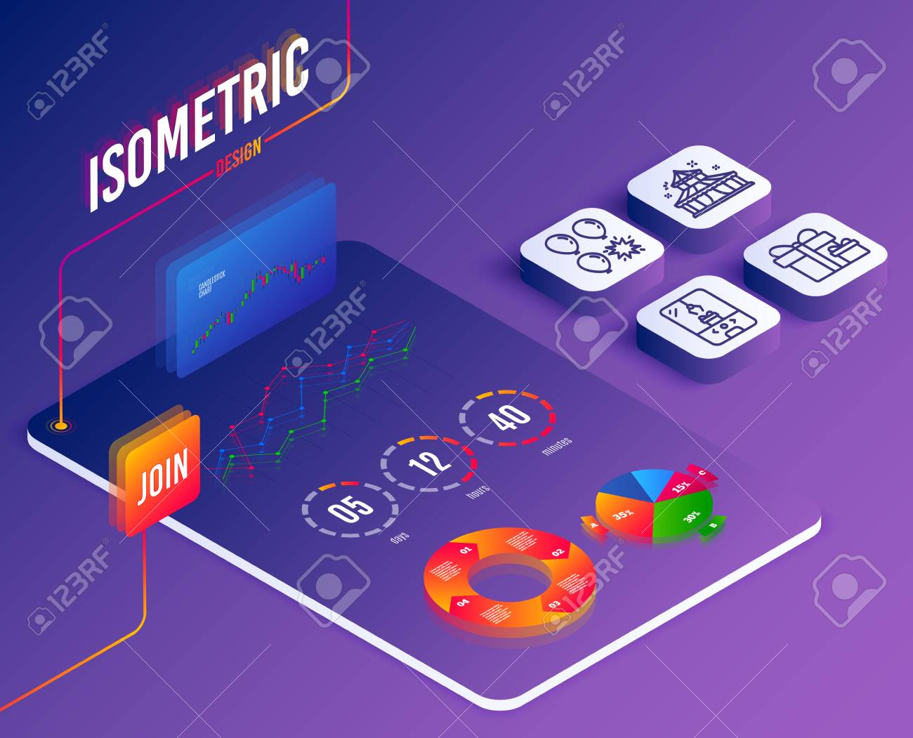 Isometric vector  Set of Circus, Surprise package and Balloon