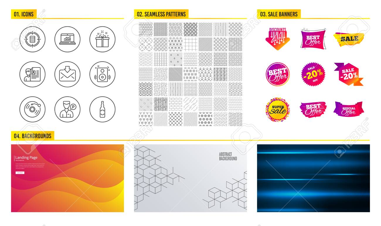Seamless pattern  Shopping sale banners  Set of Speakers, Calculator