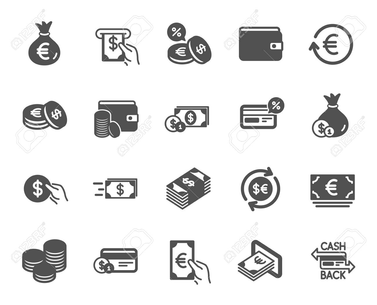 Money wallet icons. Set of Credit card, Cash and Coins icons. Banking, Currency exchange and Cashback service. Wallet, Euro and Dollar money, credit card. Cash exchange, bank payment. Vector - 125931865