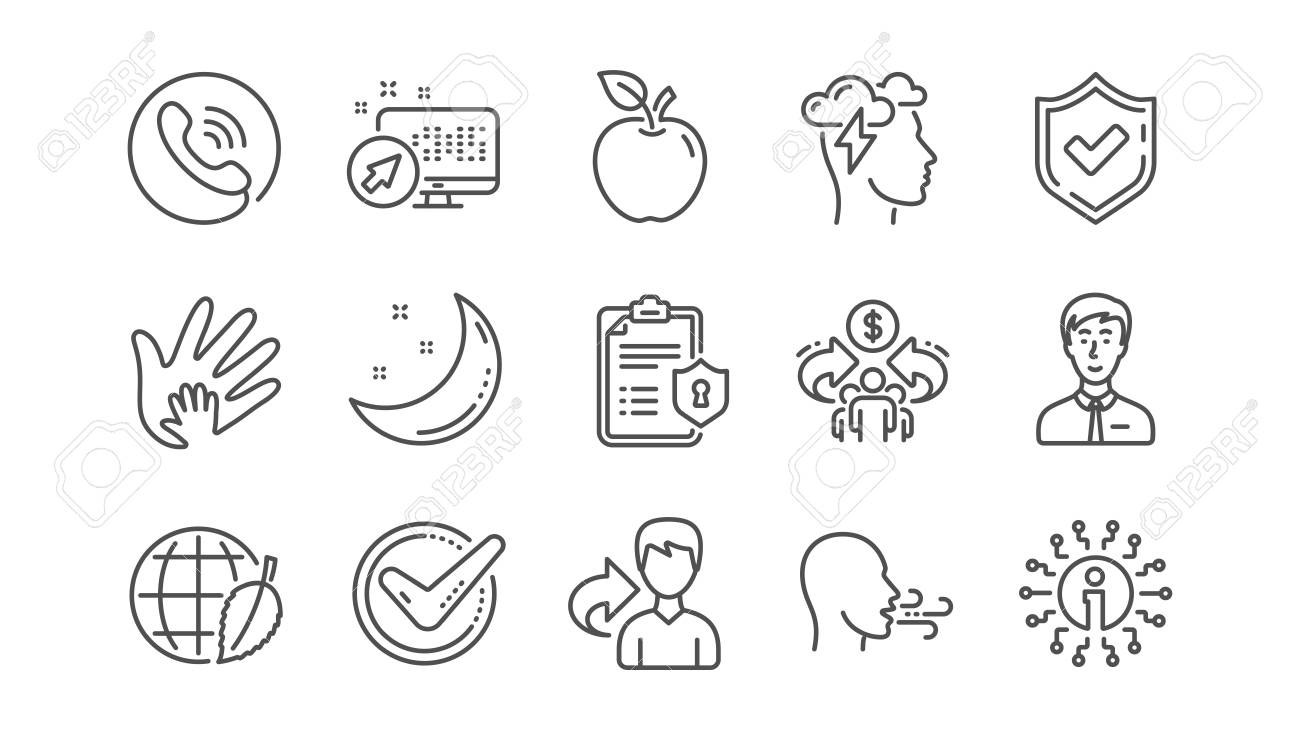 Check mark, Sharing economy and Mindfulness stress line icons. Privacy Policy, Social Responsibility. Linear icon set. Vector - 116297814