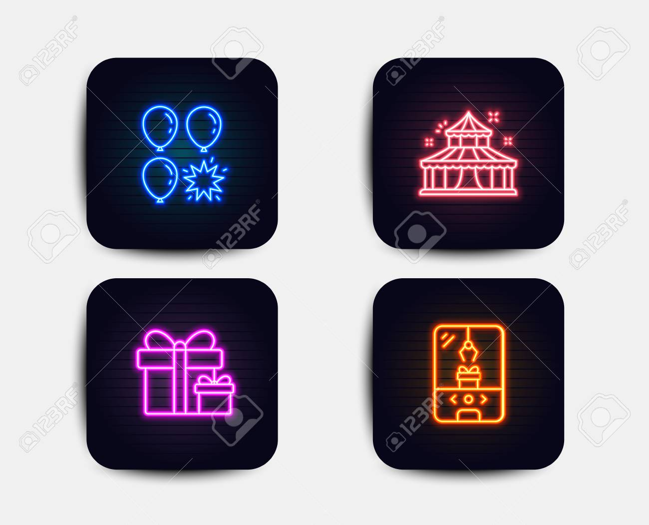 Neon set of Circus, Surprise package and Balloon dart icons