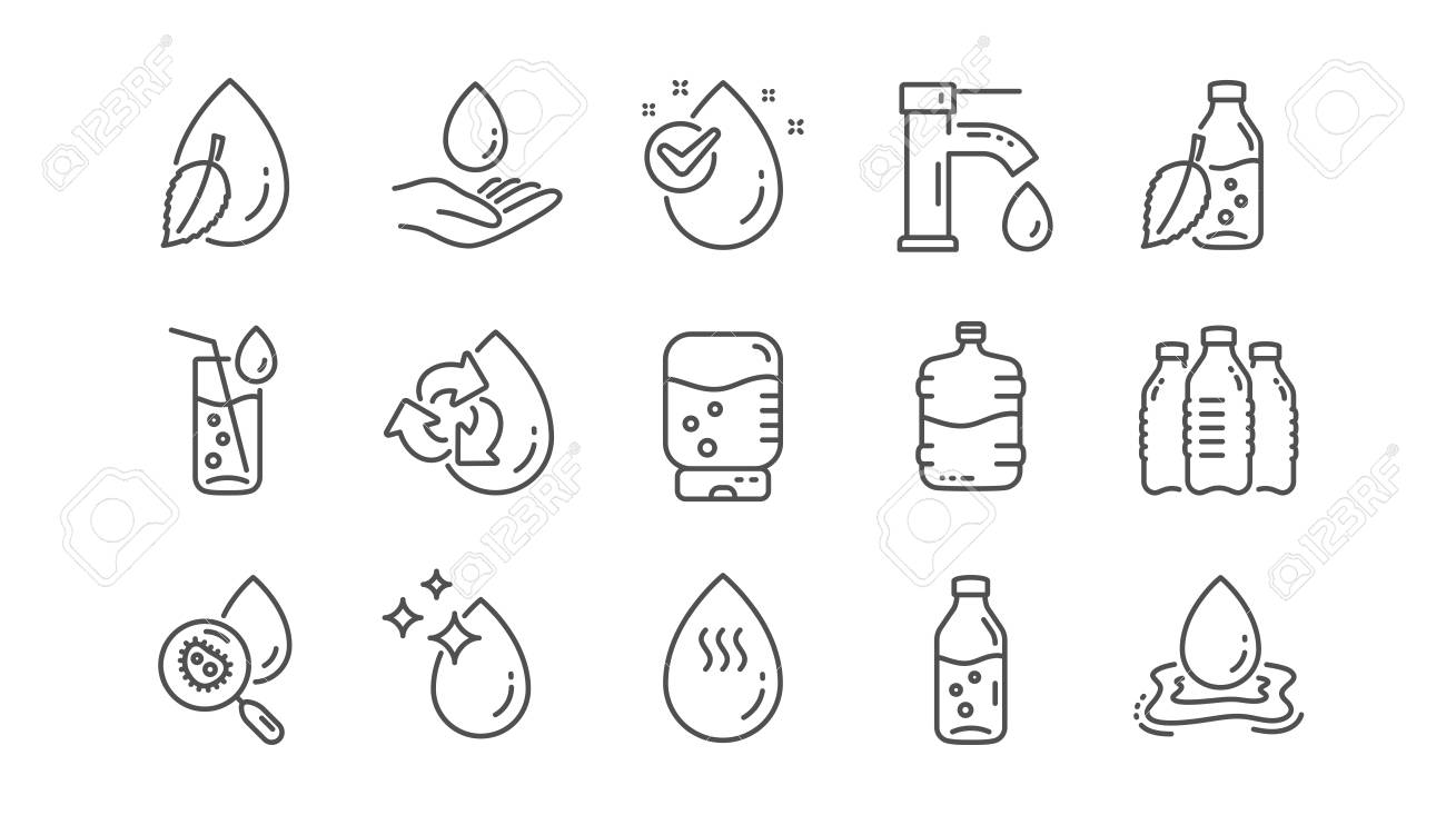 Water drop line icons. Bottle, Antibacterial filter and Tap water. Clean water linear icon set. Vector - 116301915