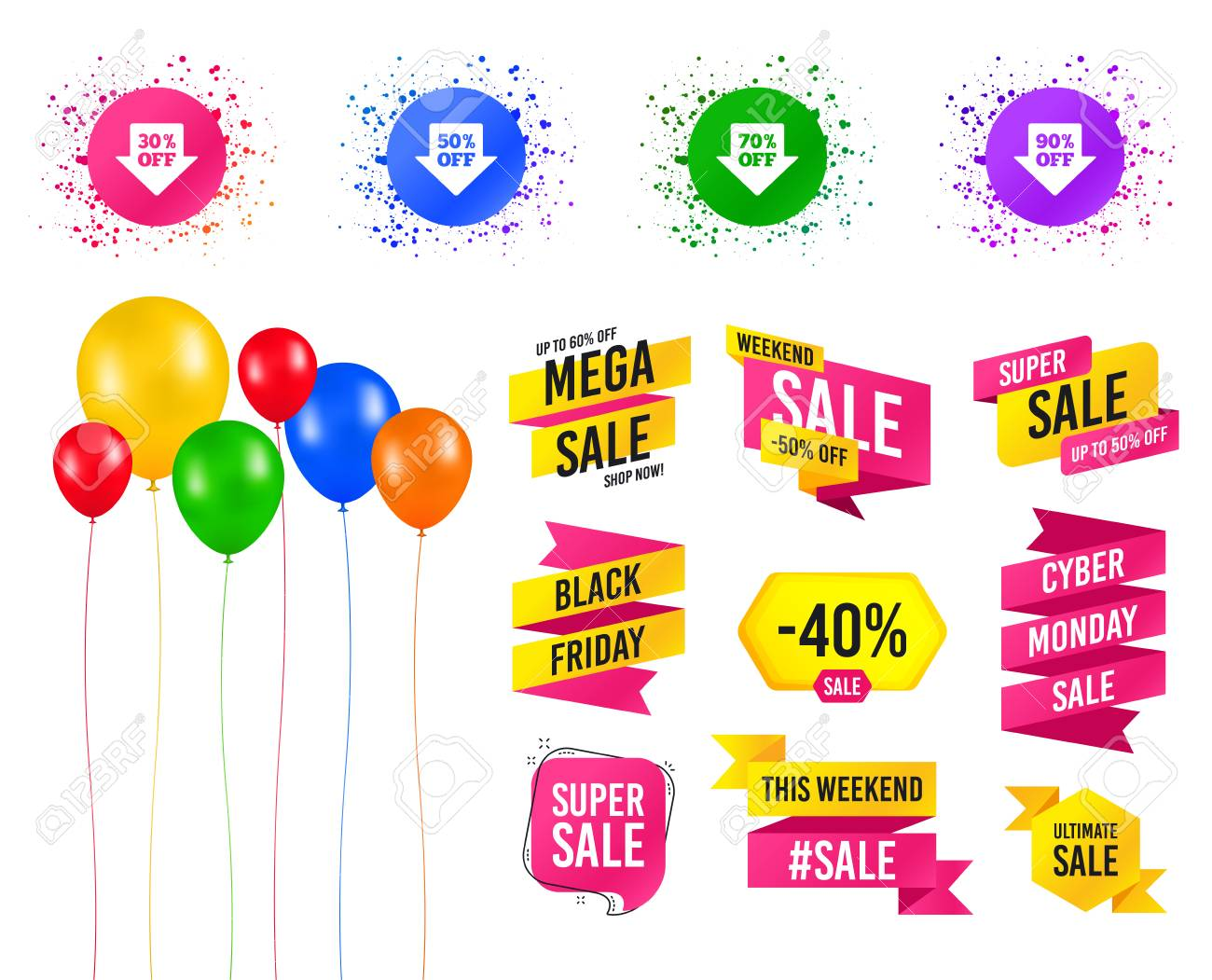 Balloons Party Sales Banners Sale Arrow Tag Icons Discount Special Offer Symbols