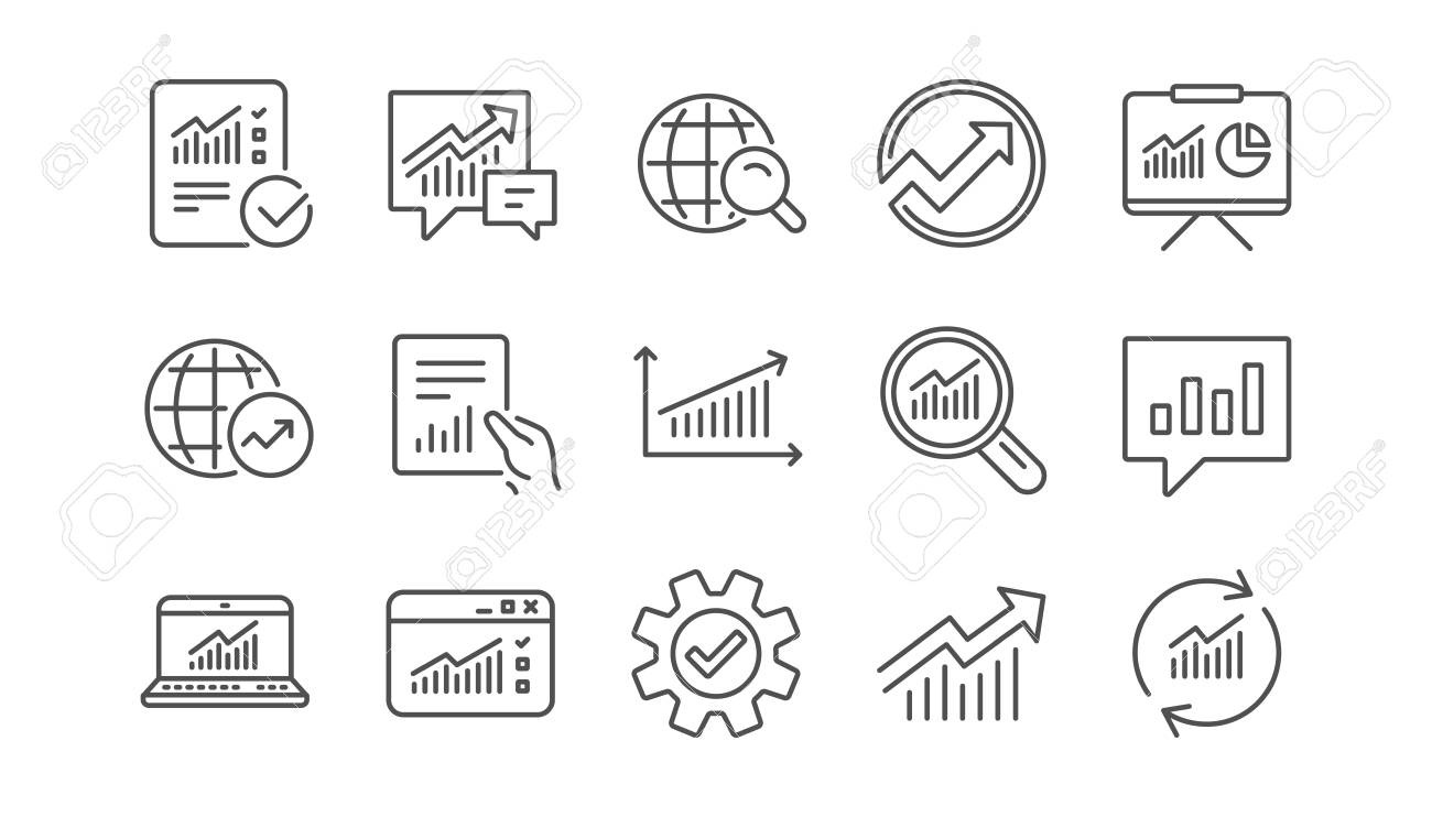Analytics line icons. Reports, Charts and Graphs. Data statistics linear icon set. Vector - 117965630
