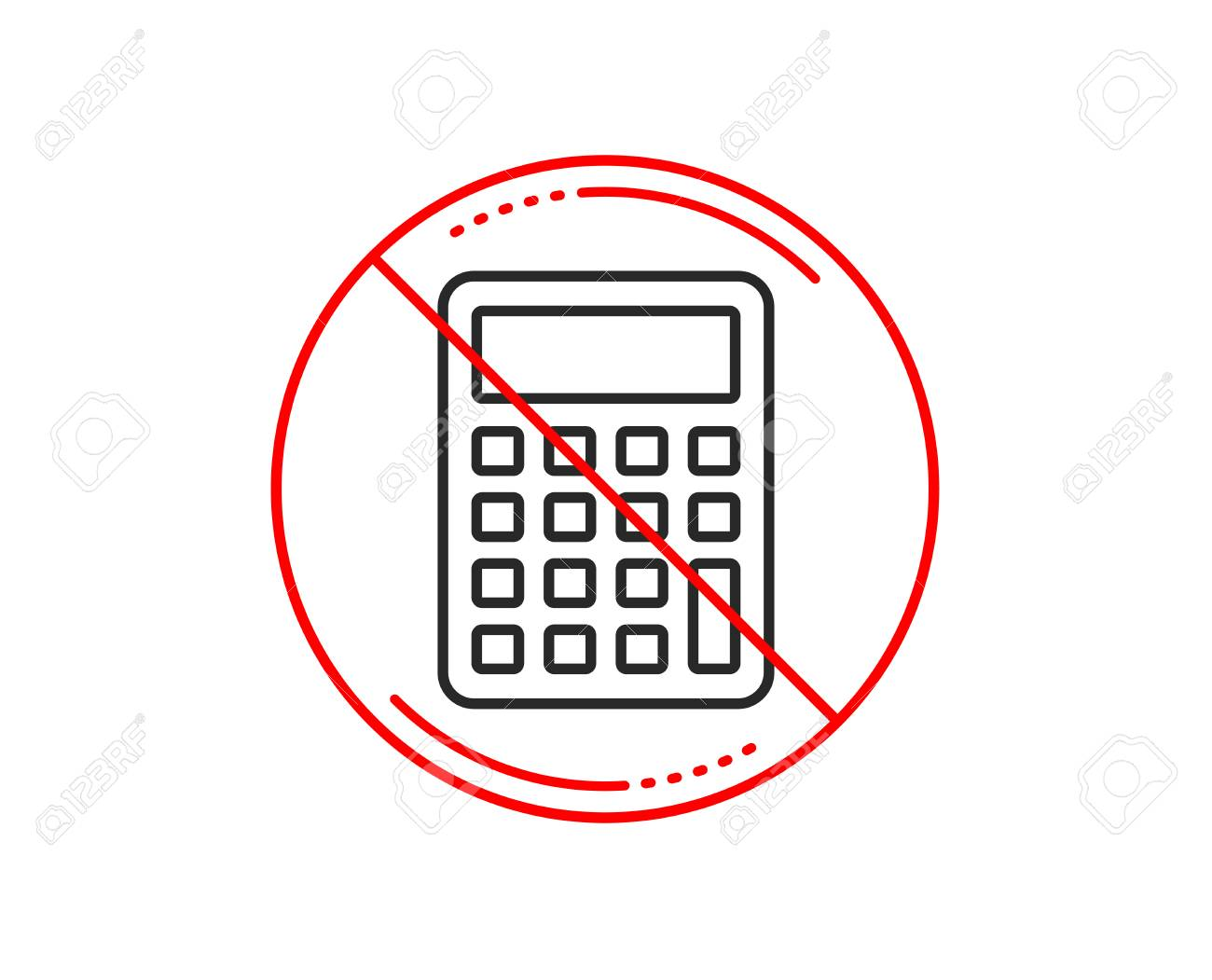 No Or Stop Sign Calculator Line Icon Accounting Sign Calculate