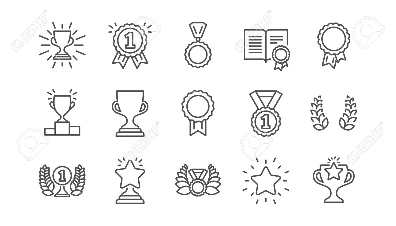 Award line icons. Winner medal, Victory cup and Trophy reward. Achievement linear icon set. Vector - 117965970