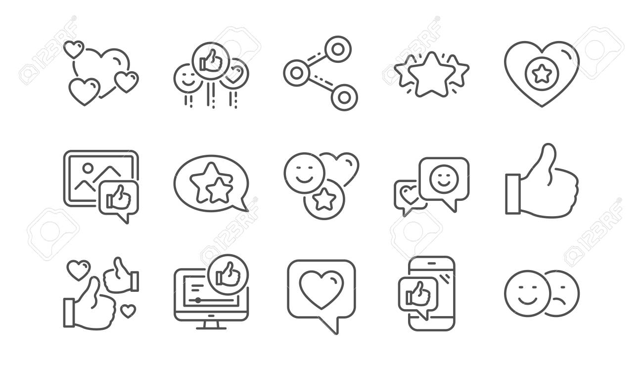 Social media line icons. Share network, Like thumbs up and Rating. Feedback smile linear icon set. Vector - 117966316