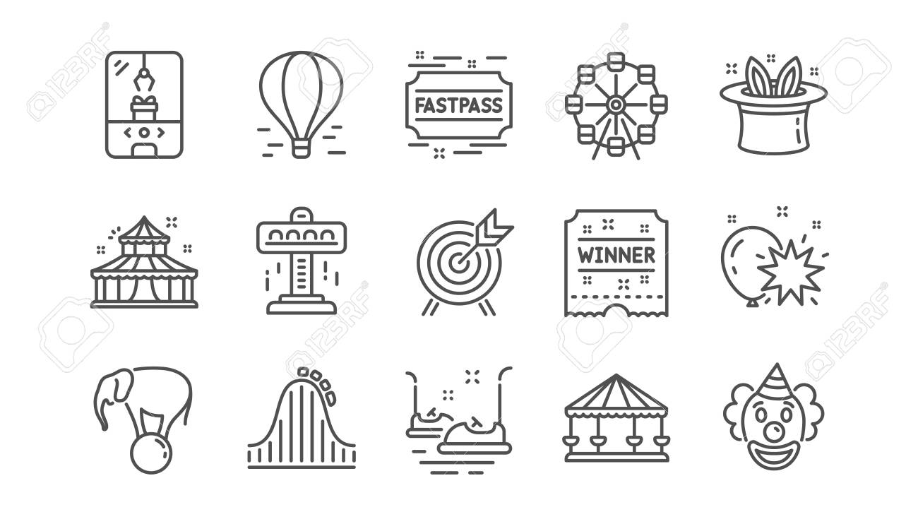 Amusement park line icons. Carousel, Roller coaster and Circus. Ferris wheel linear icon set. Vector - 118017748