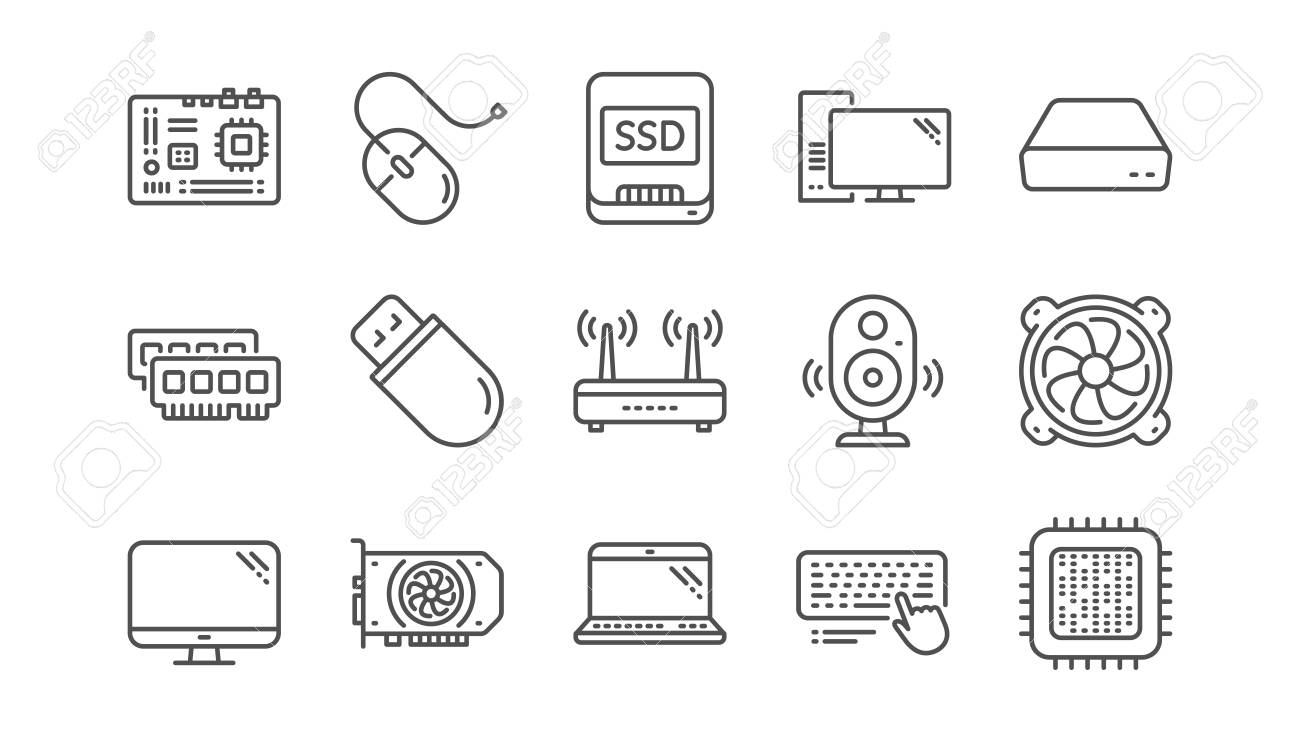 Computer device line icons. Motherboard, CPU and Laptop. SSD memory linear icon set. Vector - 118084973