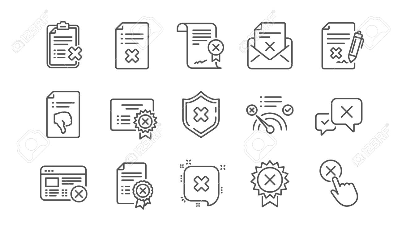 Reject line icons. Decline, Cancel and Dislike. Disapprove linear icon set. Vector - 118231729