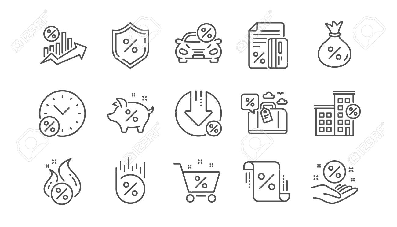 Loan line icons. Investment, Interest rate and Percentage diagram. Car leasing linear icon set. Vector - 118231971