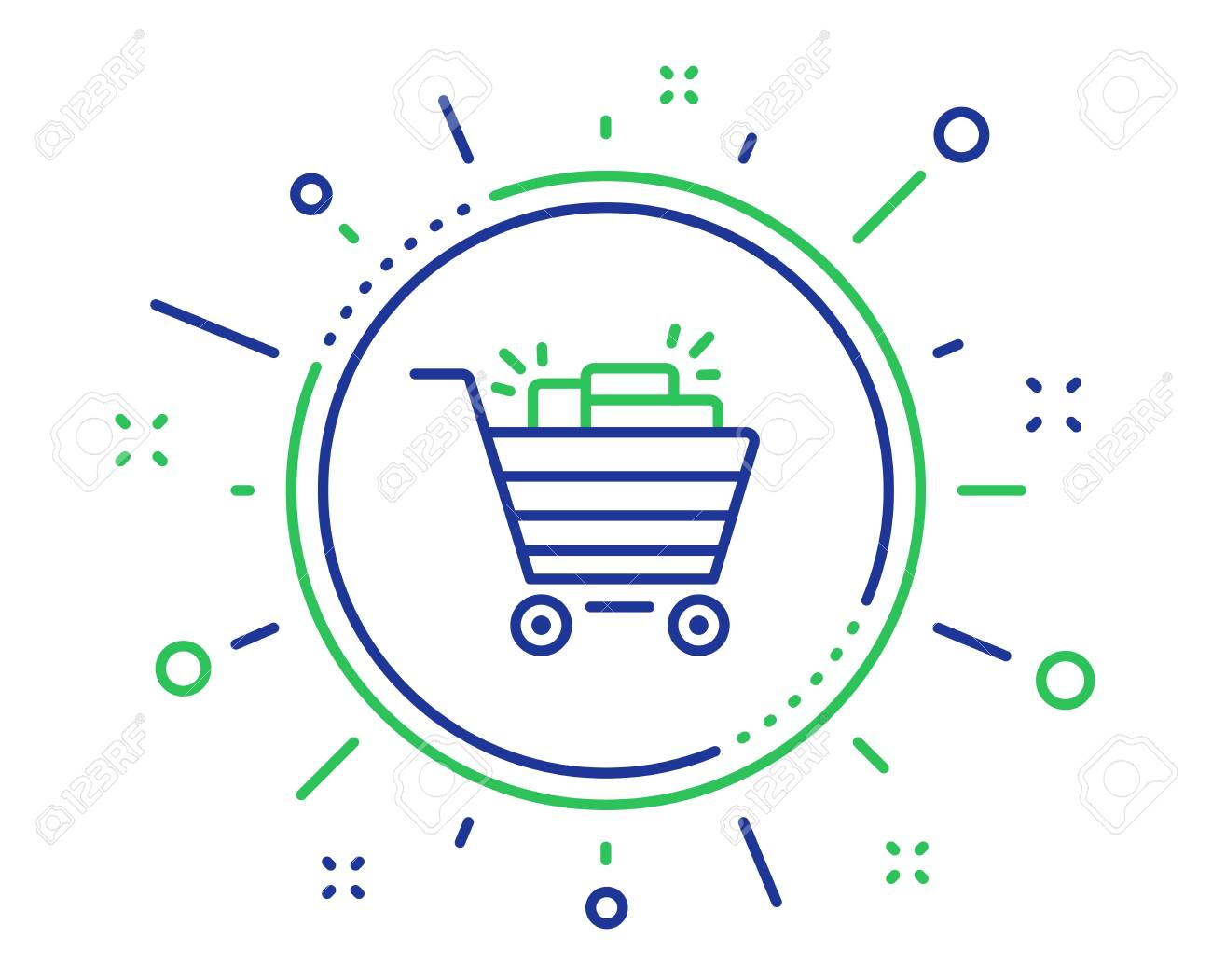 Shopping cart line icon. Sale Marketing symbol. Special offer sign. Quality design elements. Technology shopping cart button. Editable stroke. Vector - 124535286