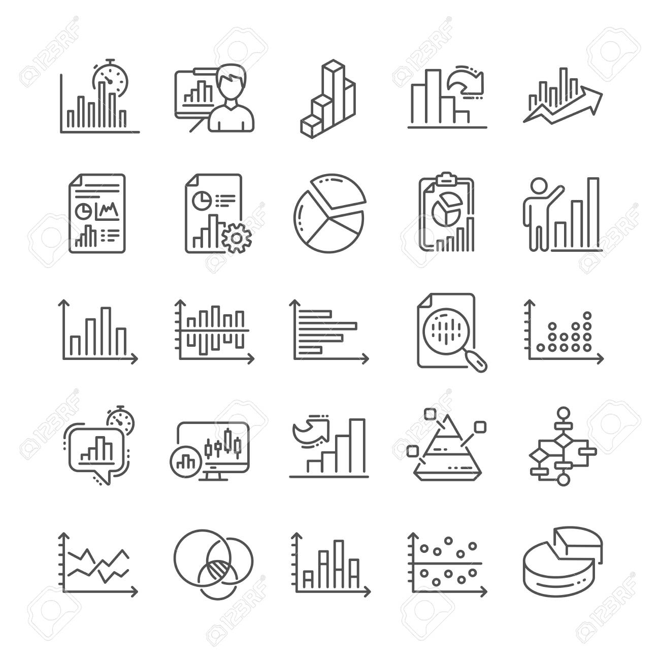 Charts And Diagrams Line Icons. Report [ 1300 x 1300 Pixel ]