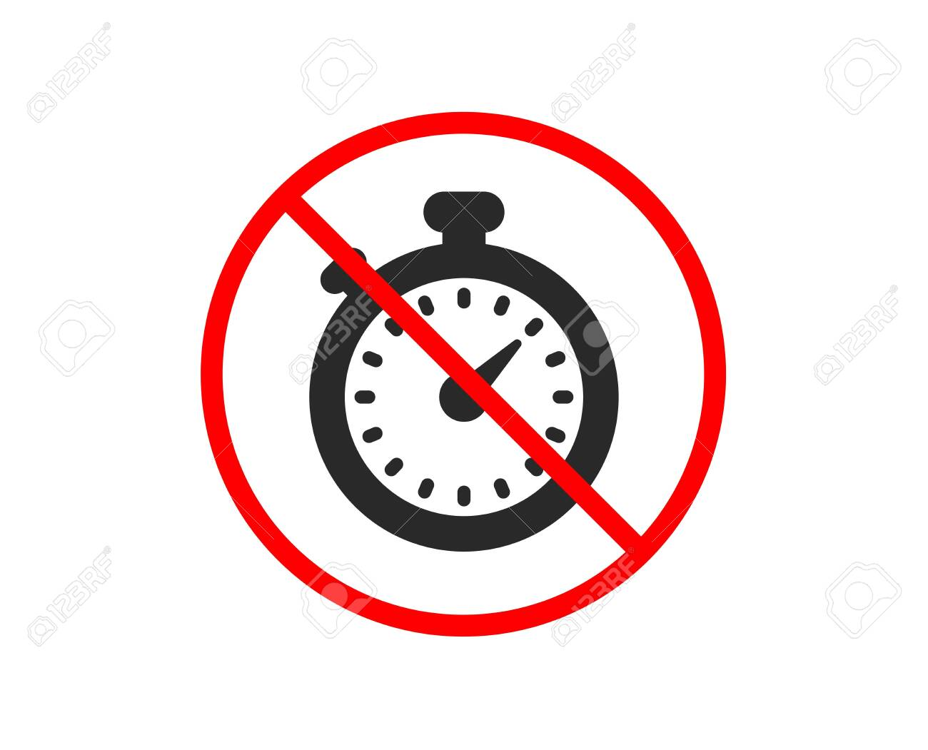 No or Stop  Timer icon  Stopwatch symbol  Time management sign