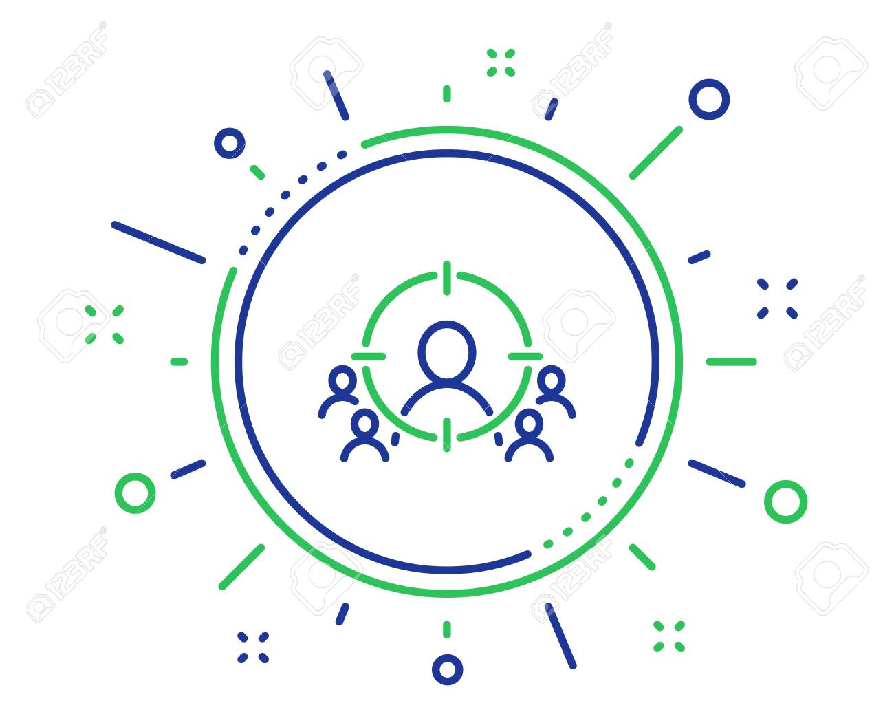 Business targeting line icon. Marketing target strategy symbol. Aim with people sign. Quality design elements. Technology business targeting button. Editable stroke. Vector - 124282750