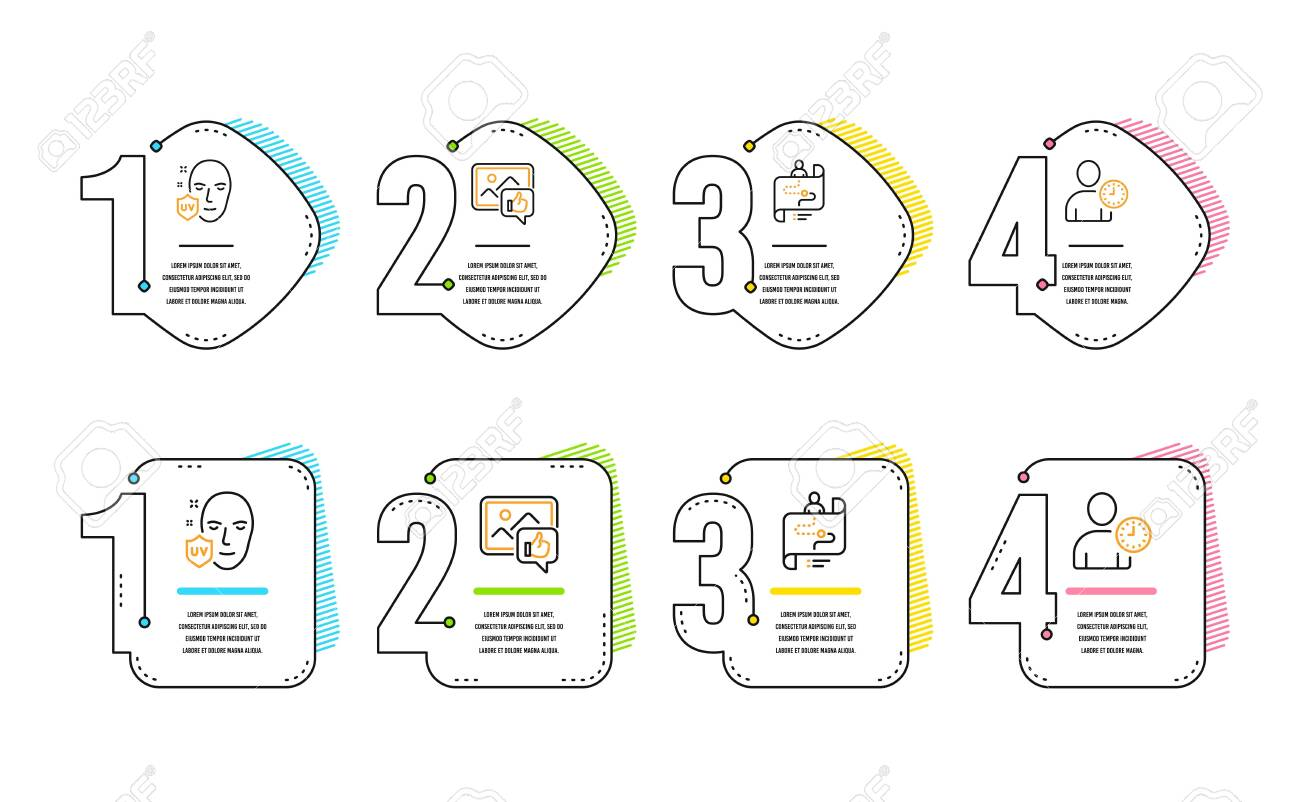 Uv protection, Like photo and Journey path icons simple set. Time management sign. Ultraviolet, Thumbs up, Project process. User with clock. People set. Infographic timeline. Line uv protection icon - 124229188