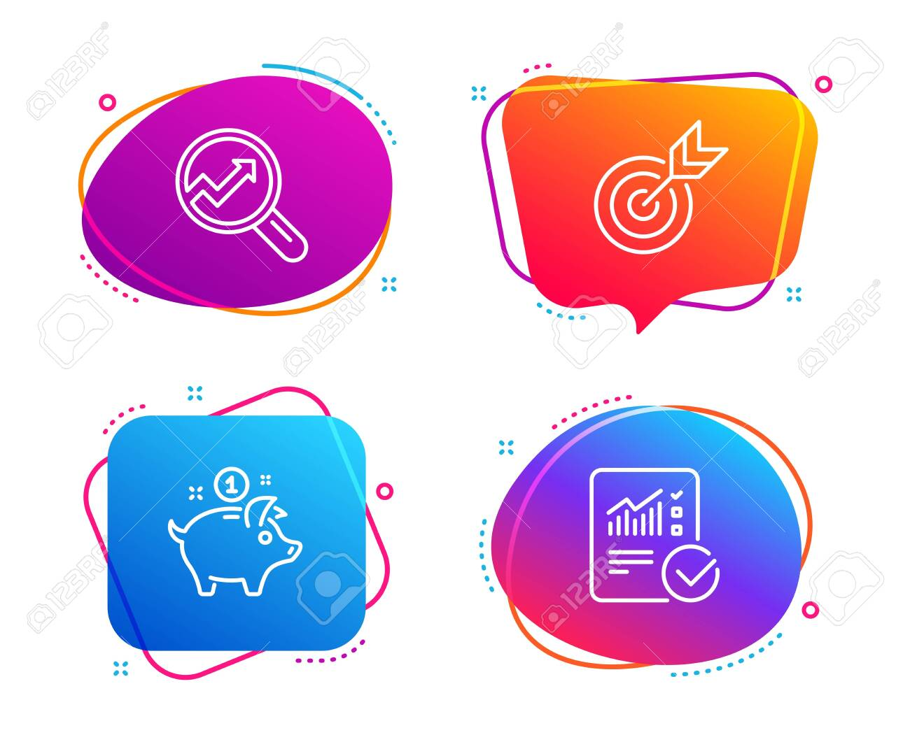 Saving Money Analytics And Target Icons Simple Set Checked