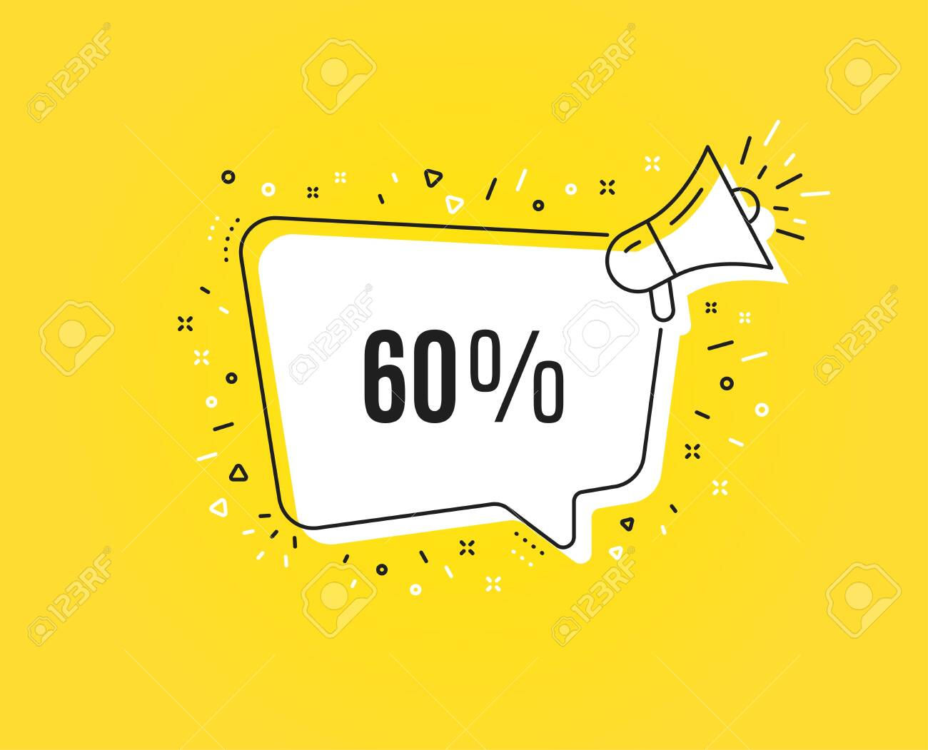 60% off Sale. Megaphone banner. Discount offer price sign. Special offer symbol. Loudspeaker with speech bubble. Discount sign. Marketing and advertising tag. Vector - 124229412