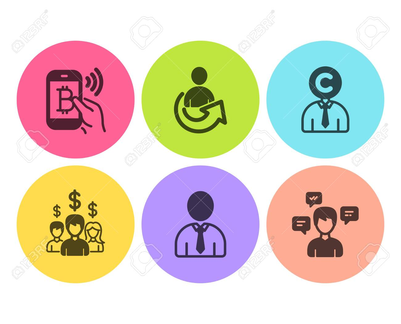 Human, Share and Copyrighter icons simple set  Salary employees,