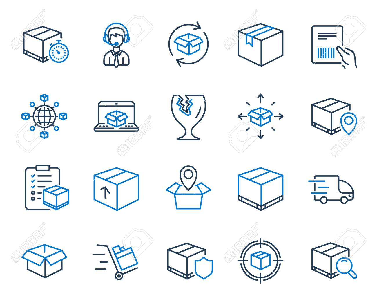 Logistics, Shipping document line icons  Set of Truck Delivery,