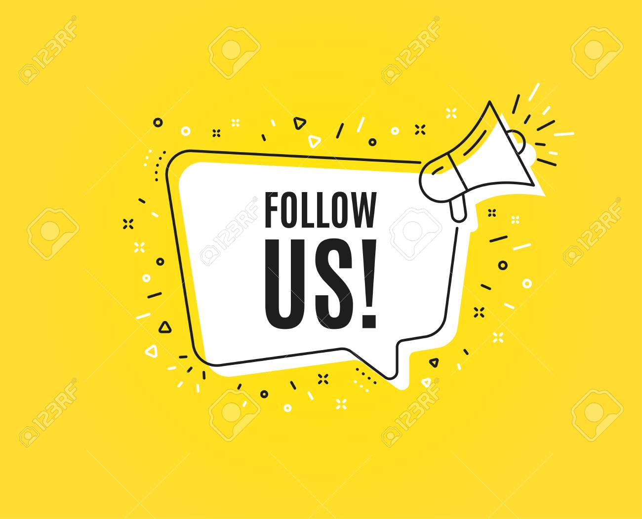 Follow us symbol. Megaphone banner. Special offer sign. Super offer. Loudspeaker with speech bubble. Follow us sign. Marketing and advertising tag. Vector - 123946494