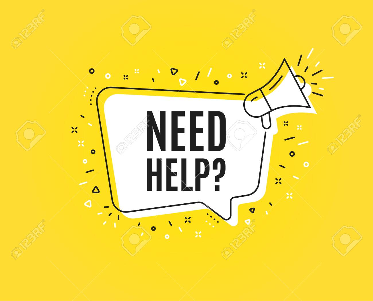 Need help symbol. Megaphone banner. Support service sign. Faq information. Loudspeaker with speech bubble. Need help sign. Marketing and advertising tag. Vector - 123946608