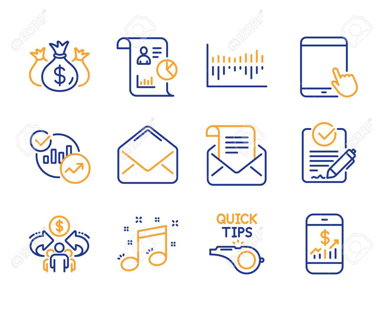 Rfp, Report and Statistics icons simple set  Mail newsletter,