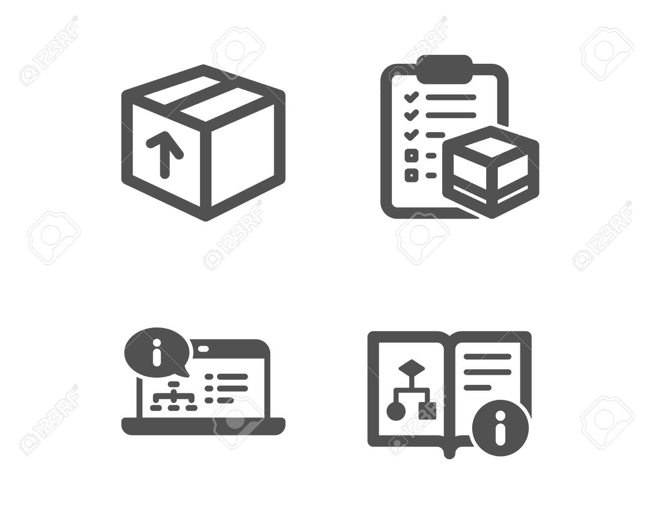 Set of Package, Online documentation and Parcel checklist icons. Technical algorithm sign. Delivery pack, Web engineering, Logistics check. Project doc. Classic design package icon. Flat design - 122814734