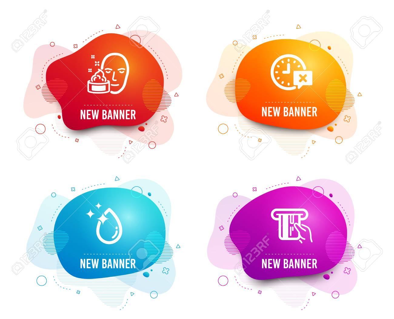 Liquid badges. Set of Time, Face cream and Water drop icons. Credit card sign. Remove alarm, Gel, Crystal aqua. Atm payment. Gradient time icon. Flyer fluid design. Abstract shapes. Vector - 122932666
