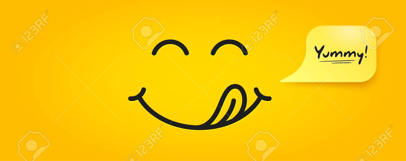 Yummy smile emoticon with tongue lick mouth. Tasty food eating emoji face. Delicious cartoon with saliva drops on yellow background. Smile face line design. Savory gourmet. Yummy vector - 123115136