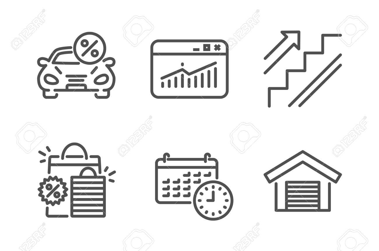 Calendar, Website statistics and Car leasing icons simple set