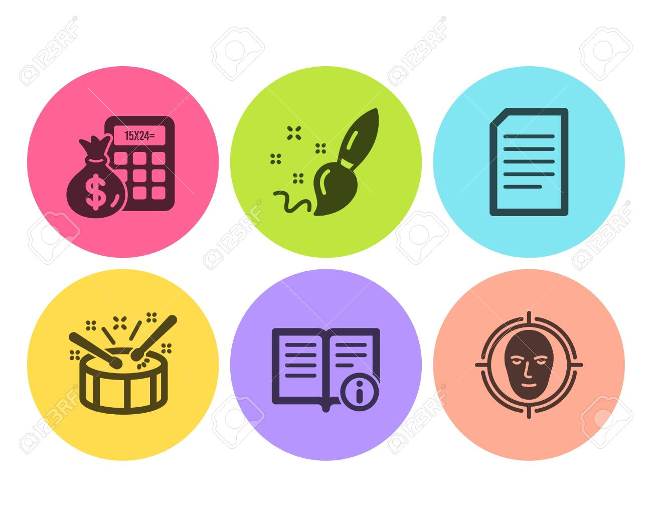 Finance calculator, Drums and Paint brush icons simple set  Technical