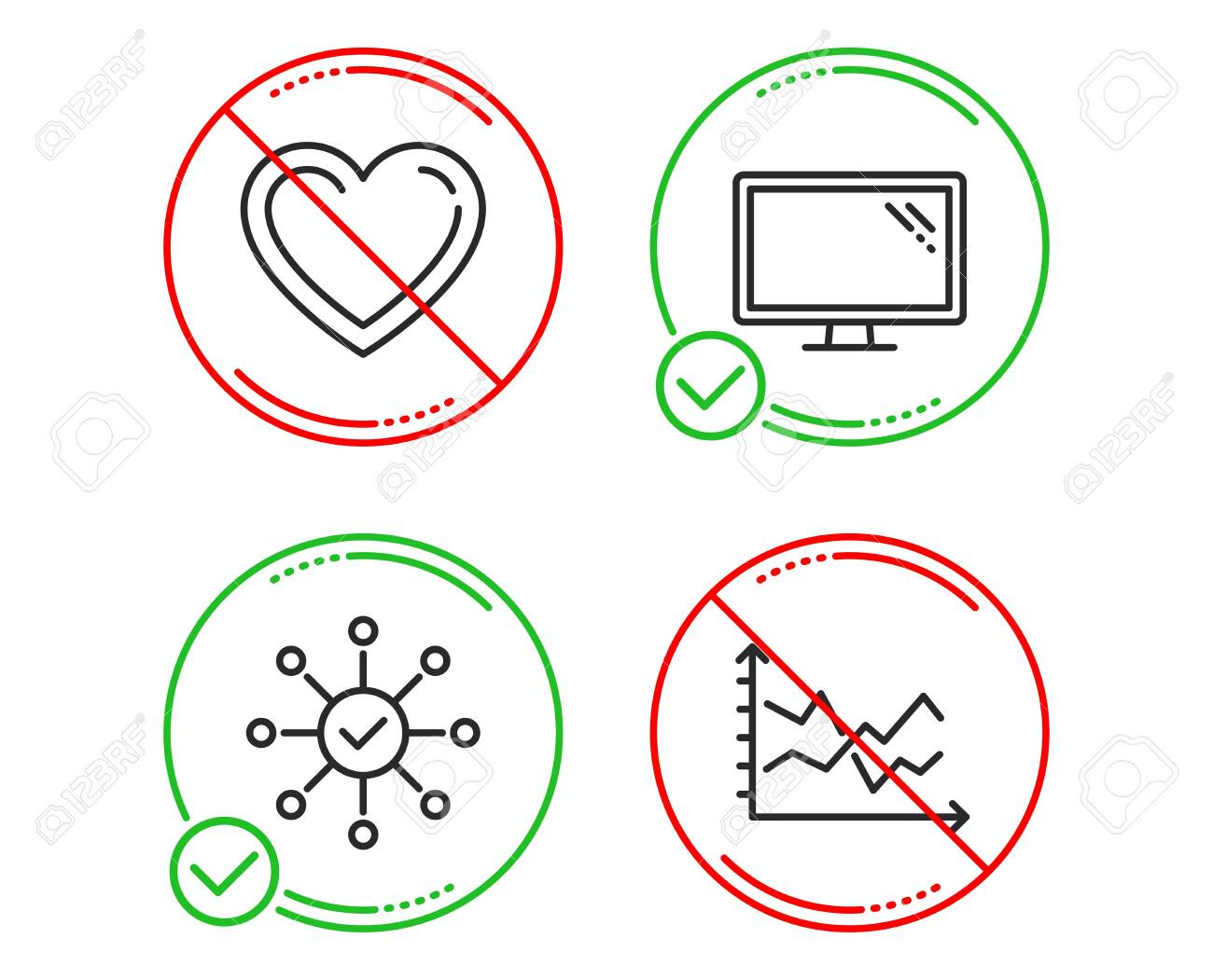 Do Or Stop Survey Check Heart And Monitor Icons Simple Set