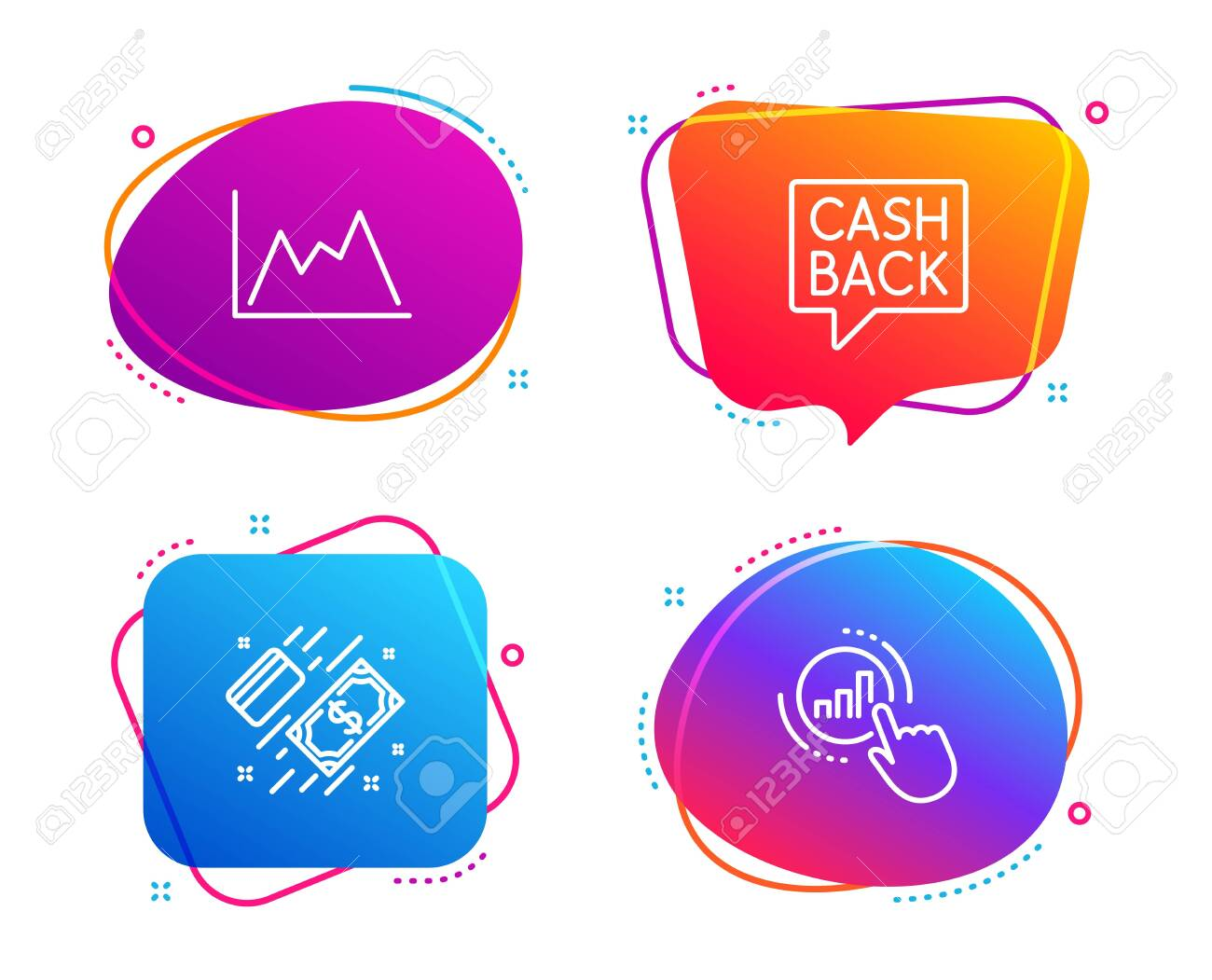 Diagram, Money transfer and Payment icons simple set. Graph chart sign. Growth graph, Cashback message, Money. Get report. Finance set. Speech bubble diagram icon. Colorful banners design set. Vector - 124559632