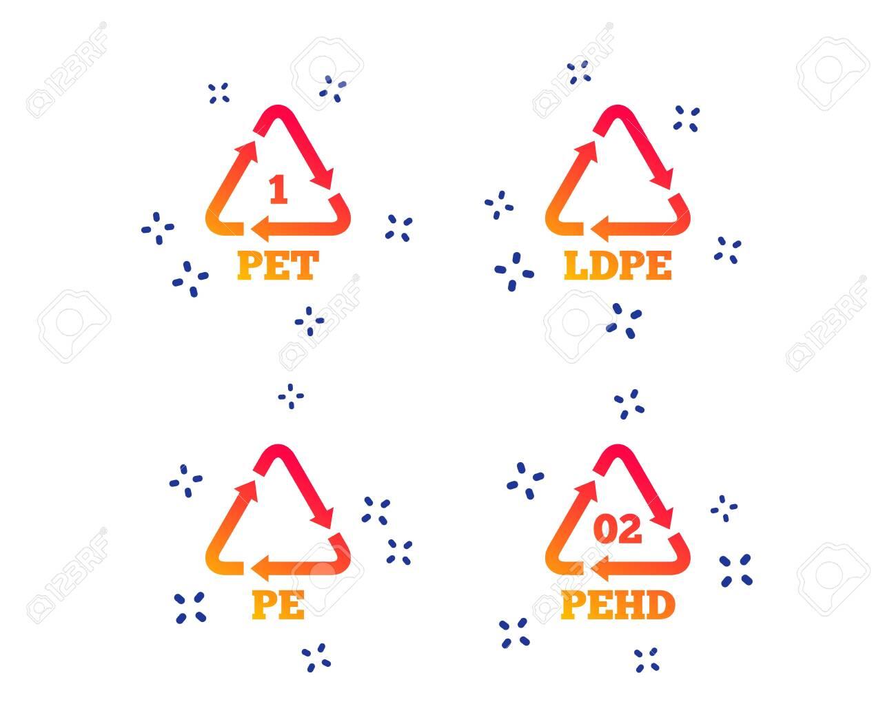 PET, Ld-pe and Hd-pe icons. High-density Polyethylene terephthalate sign. Recycling symbol. Random dynamic shapes. Gradient plastic pet icon. Vector - 126174184
